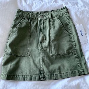 H&M olive green a-line denim skirt